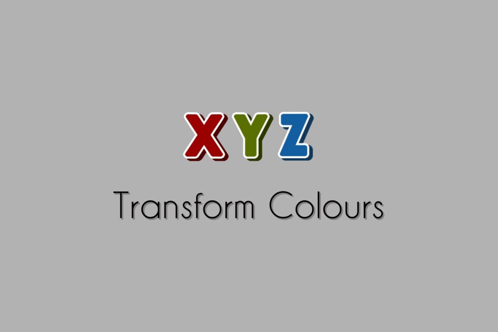 """Transform Colours Asset Logo, the letters X/Y/Z in the colours Red/Green/Blue on a light grey background with the words """"Transform Colours"""" underneath."""