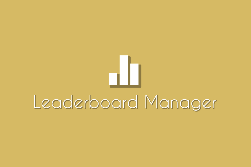 """Leaderboard Manager Asset Logo, a set of bars on a light yellow background with the words """"Leaderboard Manager"""" underneath."""