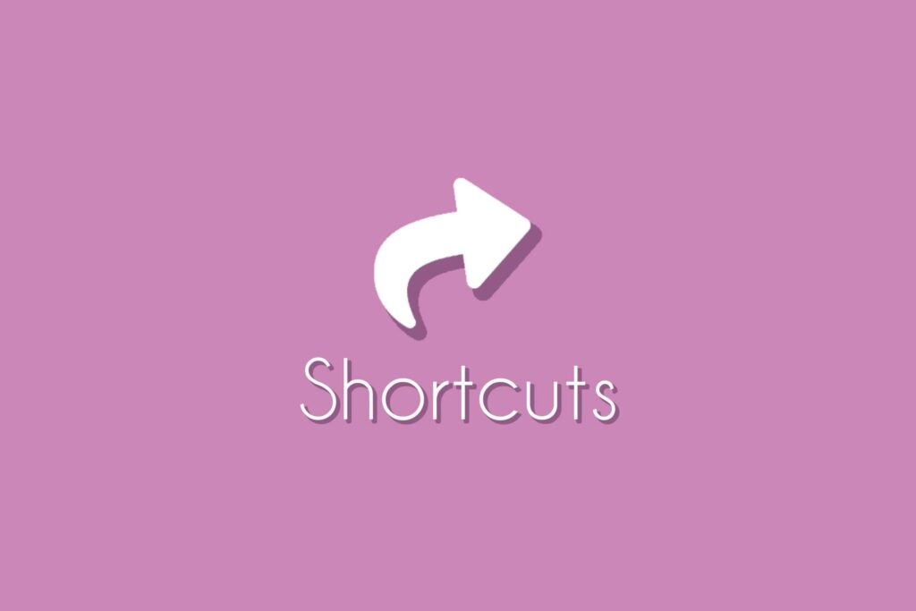 """Shortcuts Asset Logo, a back arrow on a light pink background with the word """"Shortcut"""" underneath it."""