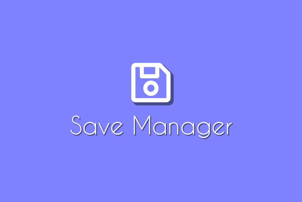 """Save Manager Asset Logo, a floppy disk icon on a light blue background with the words """"Save Manager"""" underneath."""