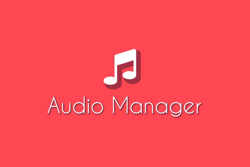 """Audio Manager Asset Logo, musical note icon on a light red background with the words """"Audio Manager"""" underneath."""